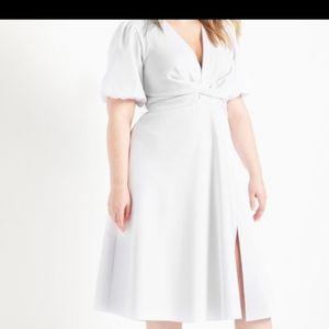NWT eloquii s20 white puff sleeve dress